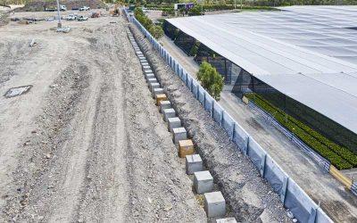 Drone photography of Concrib retaining wall construction at Yatala