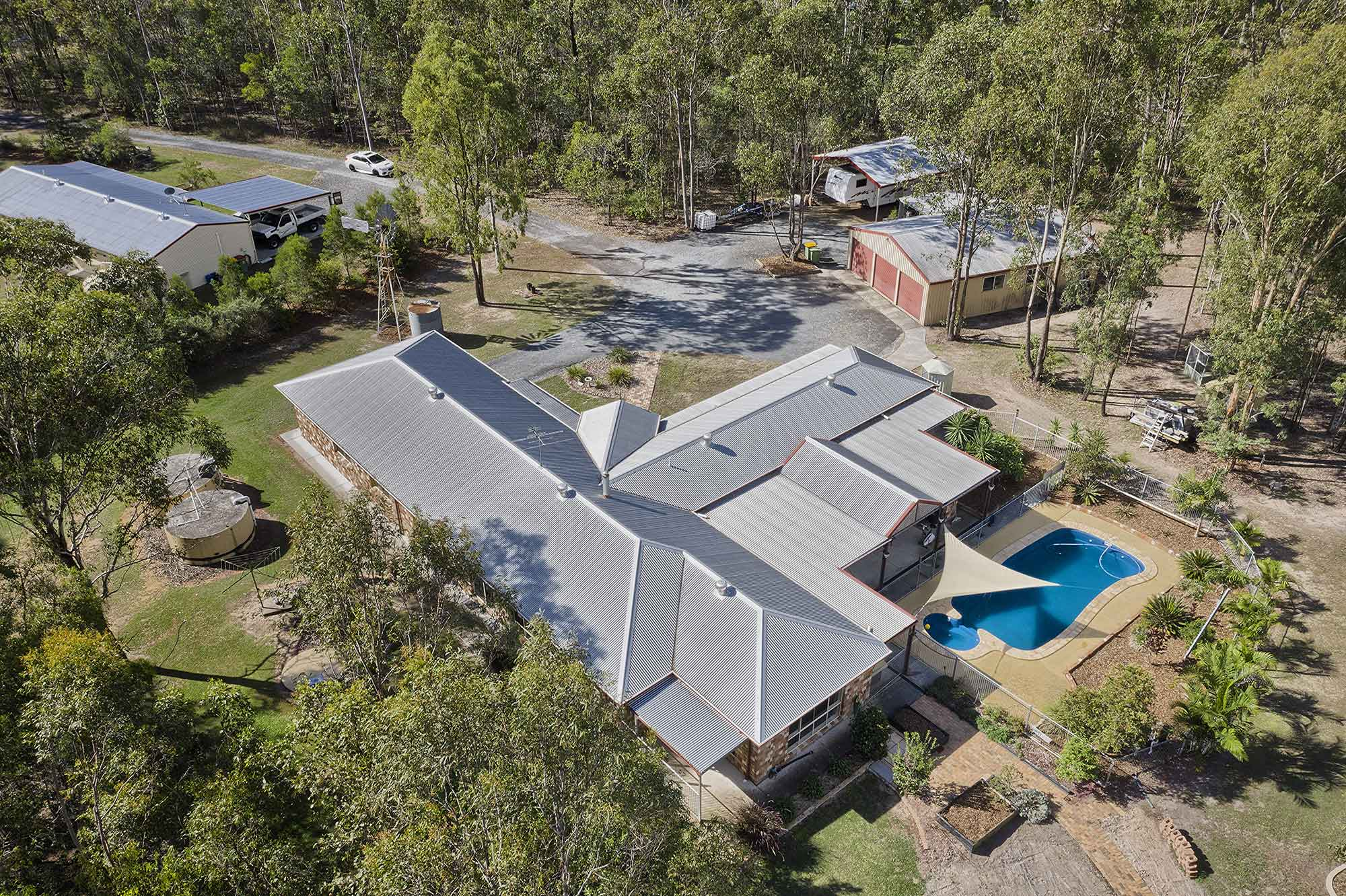 Capturing all the built structures - Drone photography acreage property for sale at 56 Sandpiper Drive Jimboomba