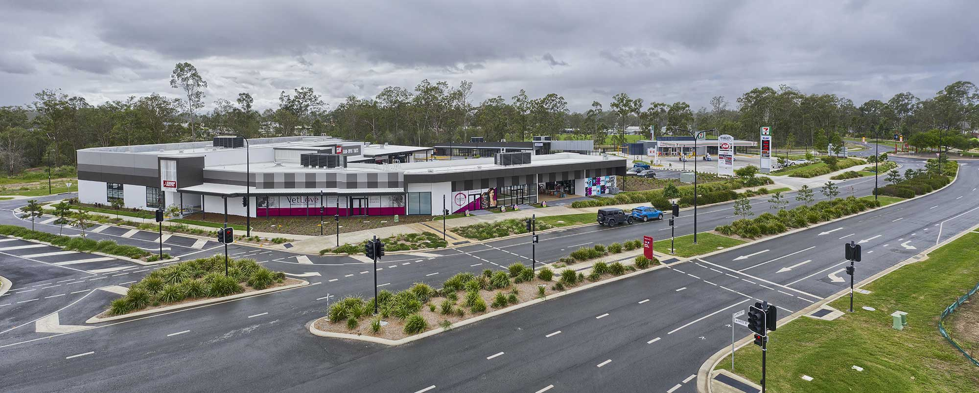 Panorama drone photography captures the street frontage