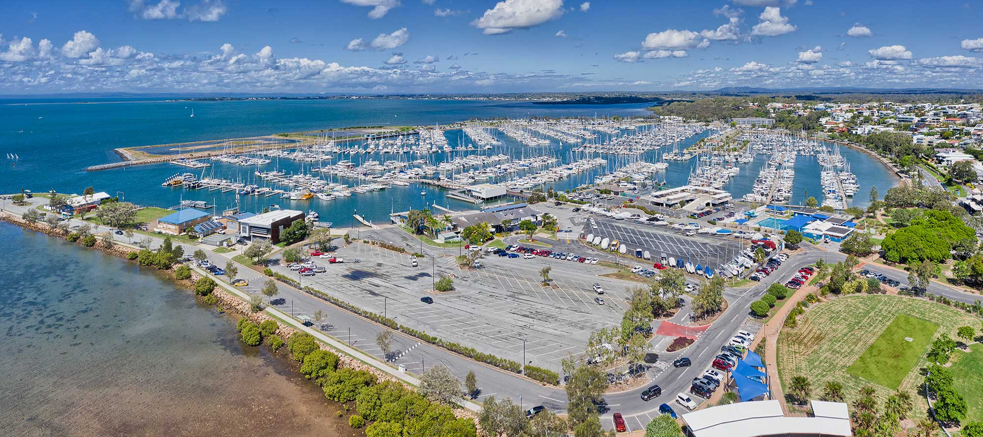 Drone photography Manly Boat Club and Marina with Redland Bay in the background