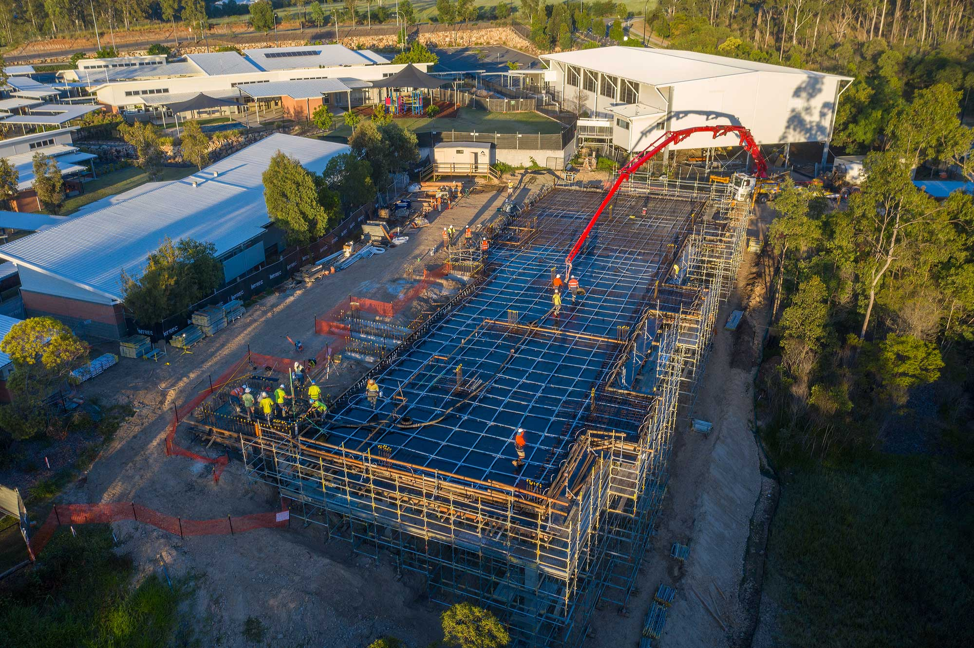 6AM start - drone photography of classroom construction at Augusta State School, Queensland