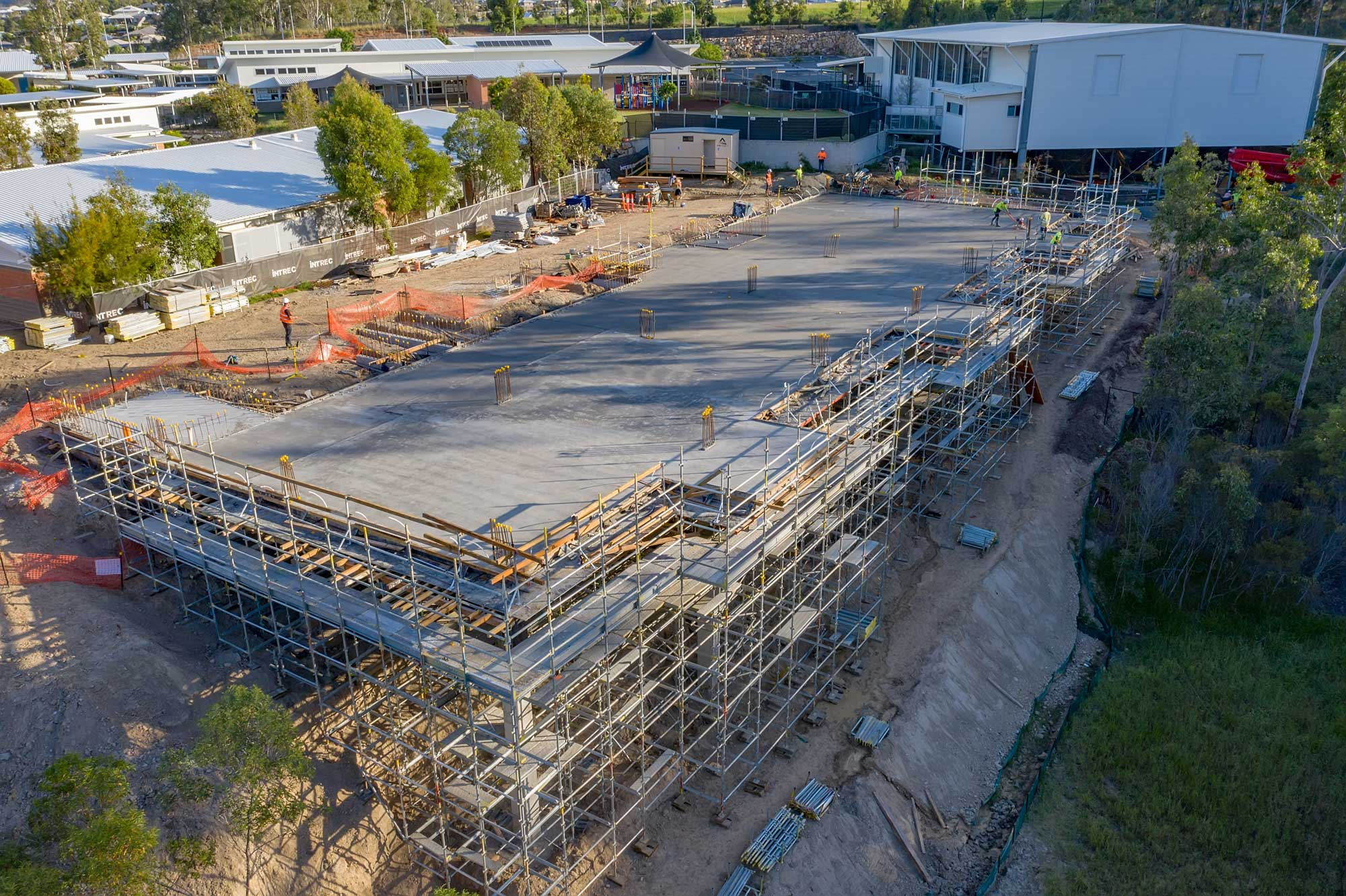 Drone photograph of completed concrete slab at Augusta State School, Queensland