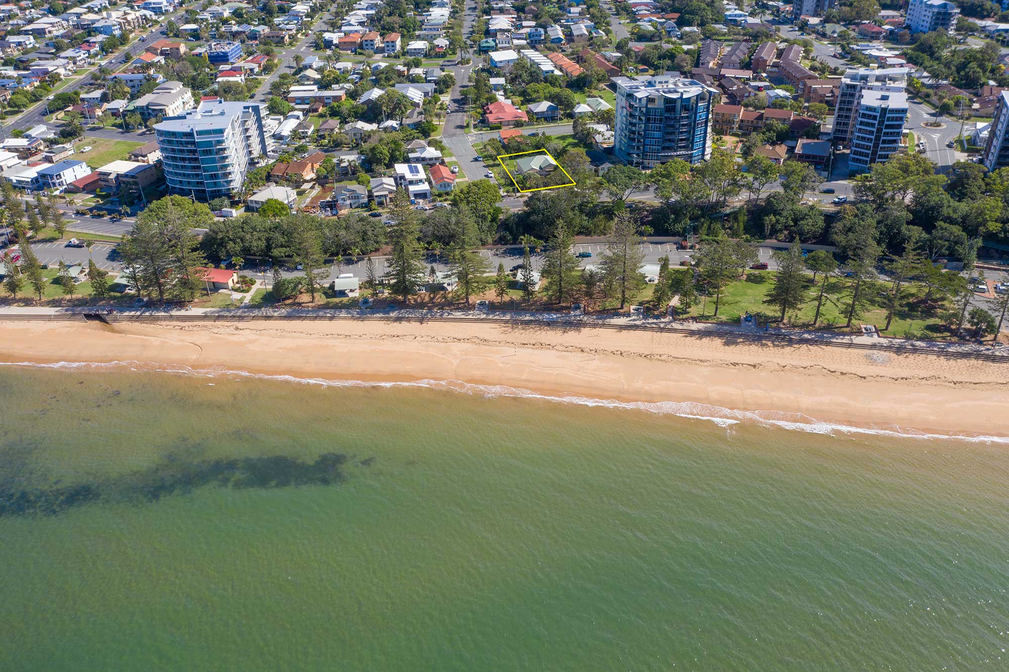 The view over the water looking back onto 37 Marine Parade, Redcliffe