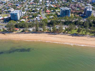 Drones in land development  - panoramic photography of apartment views at Marine Pde Redcliffe
