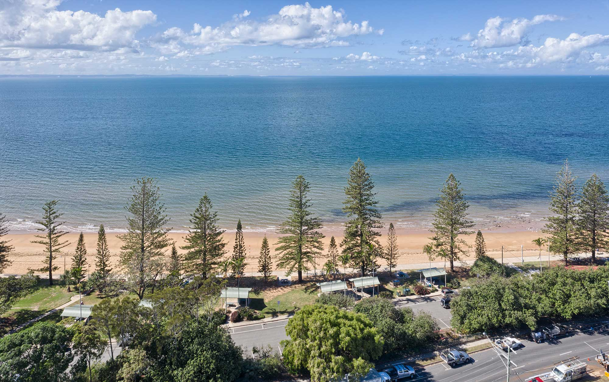looking towards the ocean and the beach  at 37 Marine Parade, Redcliffe