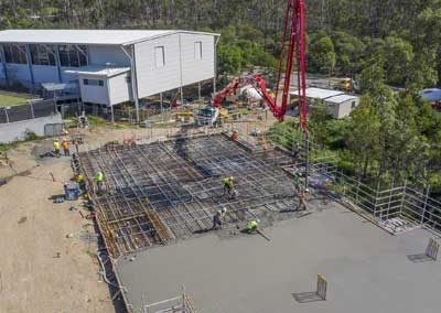 Drone video of Augustus State School concrete slab pour for INTREC