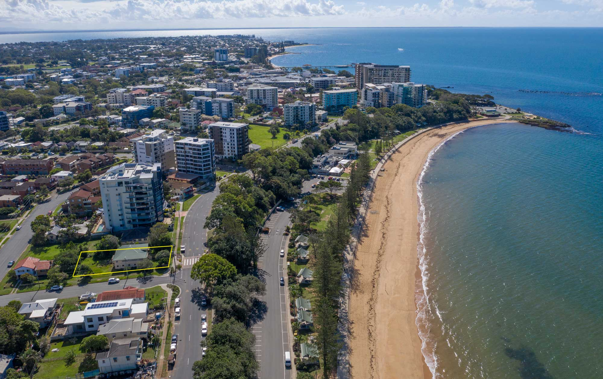 Looking north up the beach at 37 Marine Parade, Redcliffe