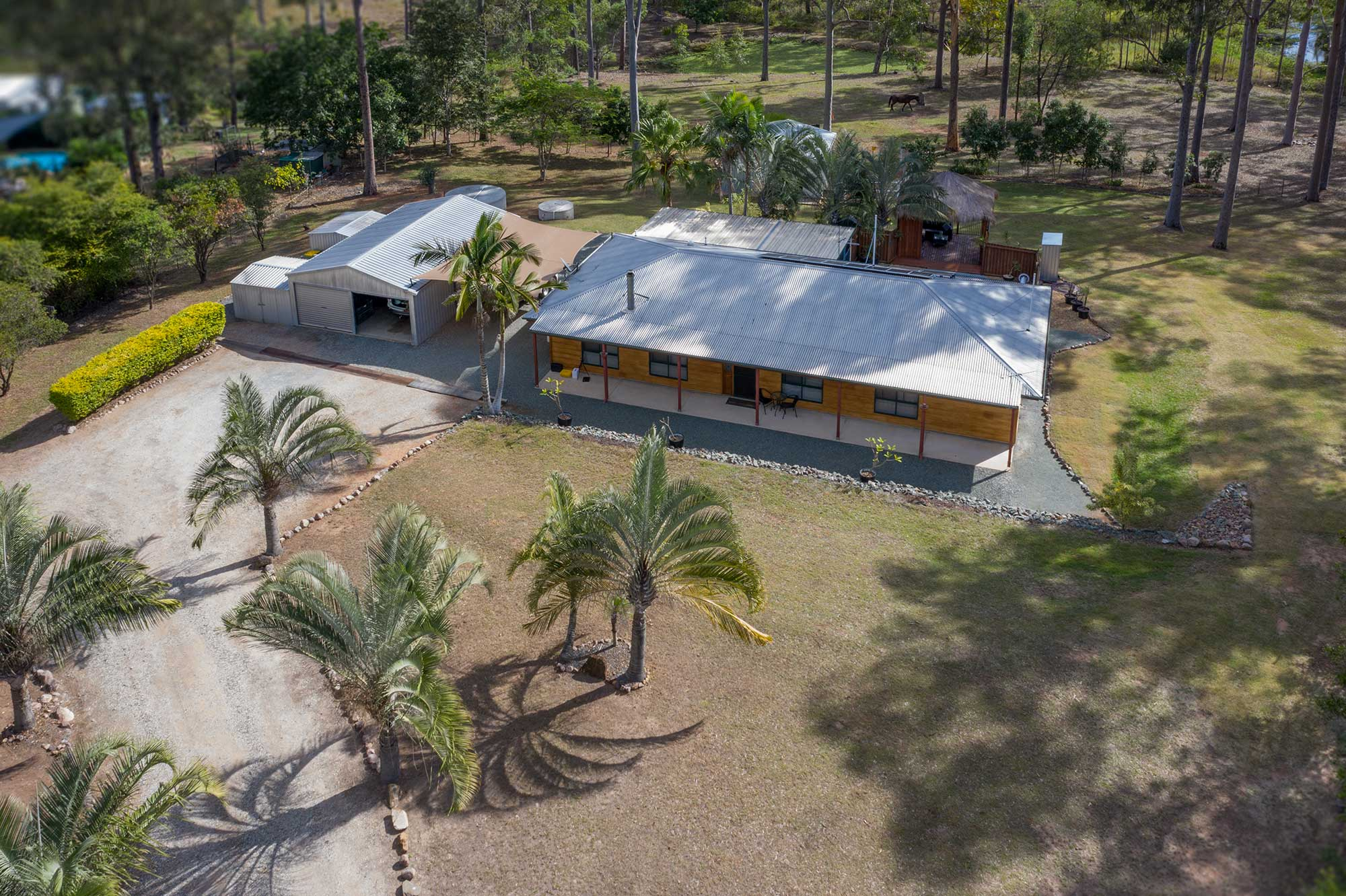 drone photography of acreage real estate listing at 99 Ashwood Drive Cedar Vale
