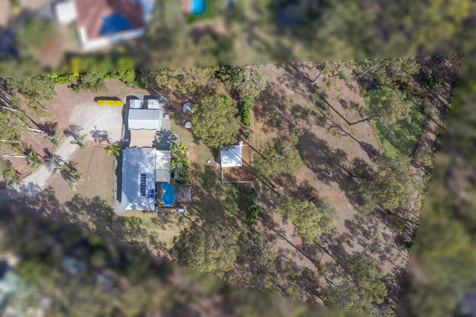 100m up  - drone photography of acreage real estate listing at 99 Ashwood Drive Cedar Vale