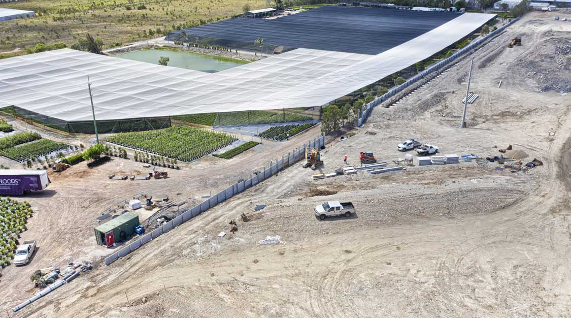 Drone video Concrib retaining wall construction Yatala