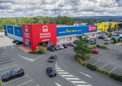 Drone video at the Homeworld Helensvale Shopping Centre looking west