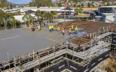 Drone video of concrete slab pour at Augusta State School