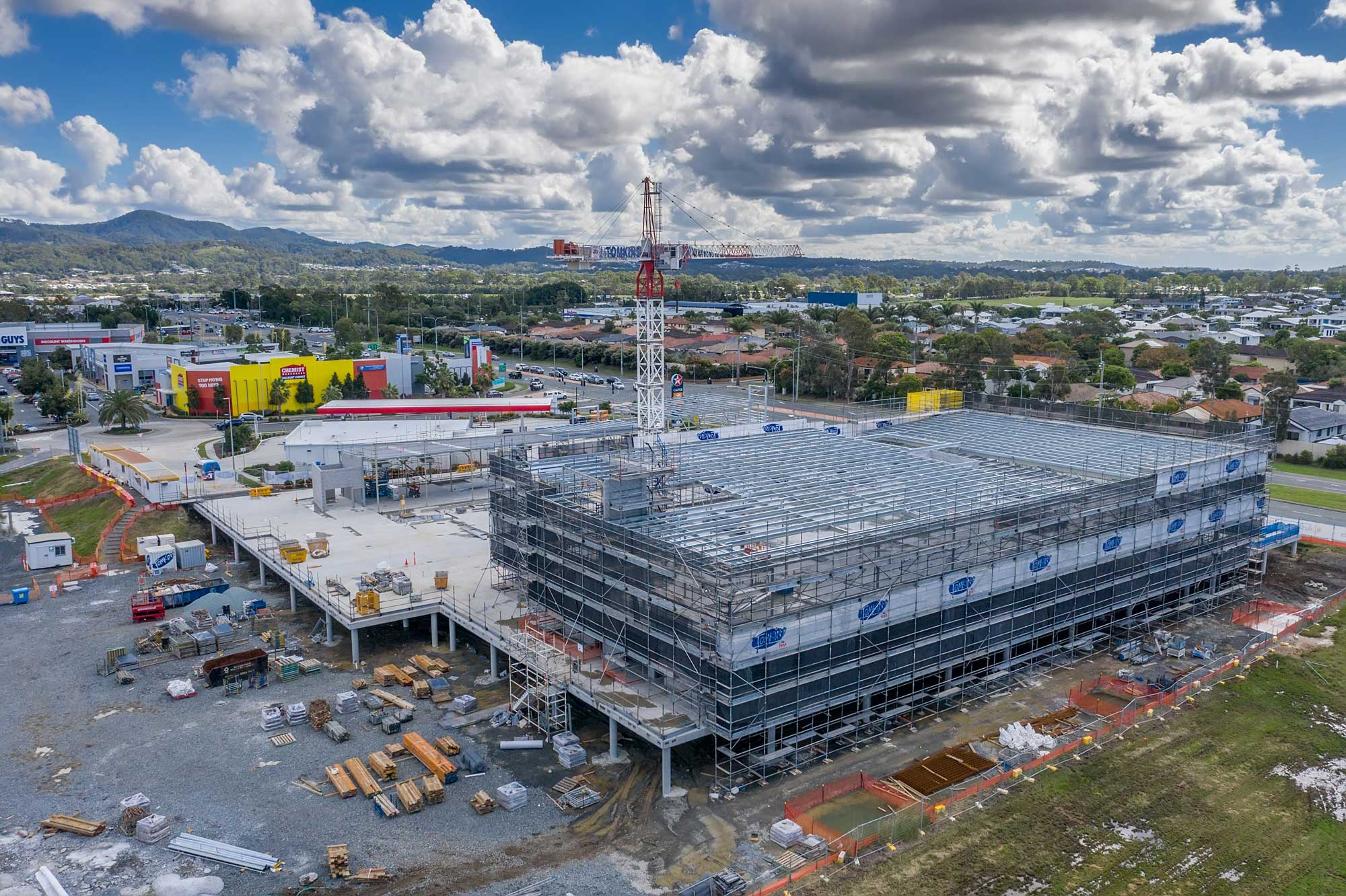 Construction site drone video of medical centre development at Helensvale