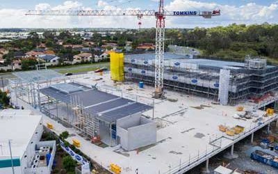 Construction site drone video for medical centre development at Helensvale