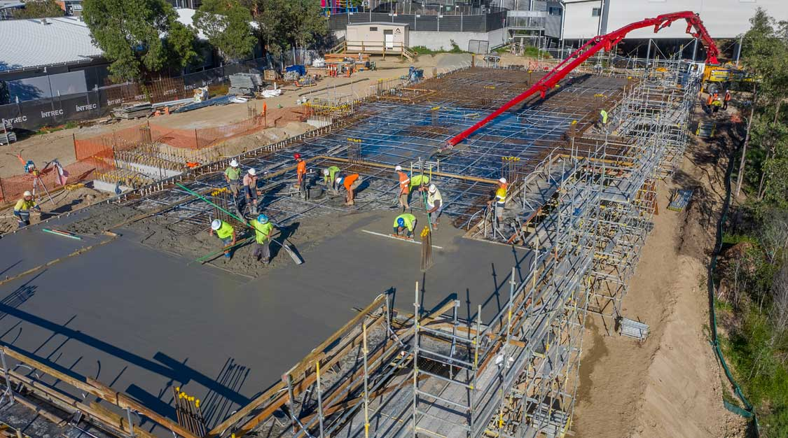 Drone photography for Intrec Management concrete slab pour at Augusta State School