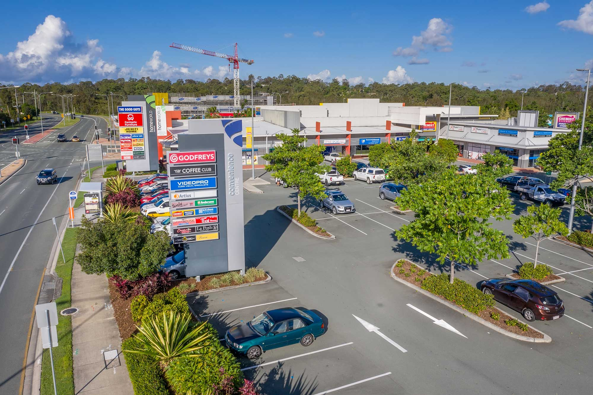 Drone video of the Homeworld Helensvale shopping centre