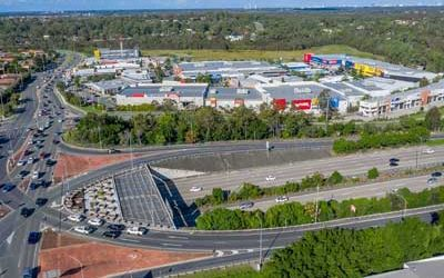 Drone video for Homeworld Helensvale Shopping Centre along the M1 motorway