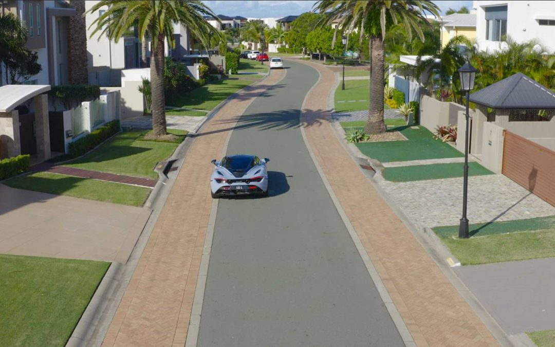 Drone footage of McLaren sports car filmed for Sovereign Islands promo video