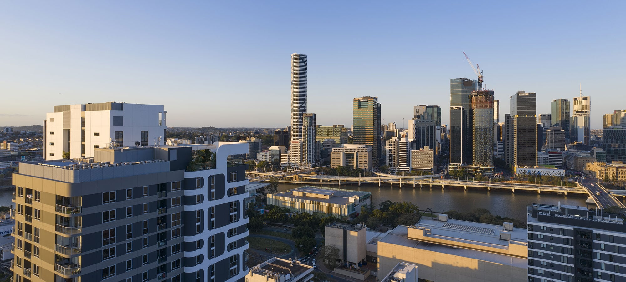The penthouse view looking north west - drone photography for South Brisbane apartment development 3D Render backgrounds