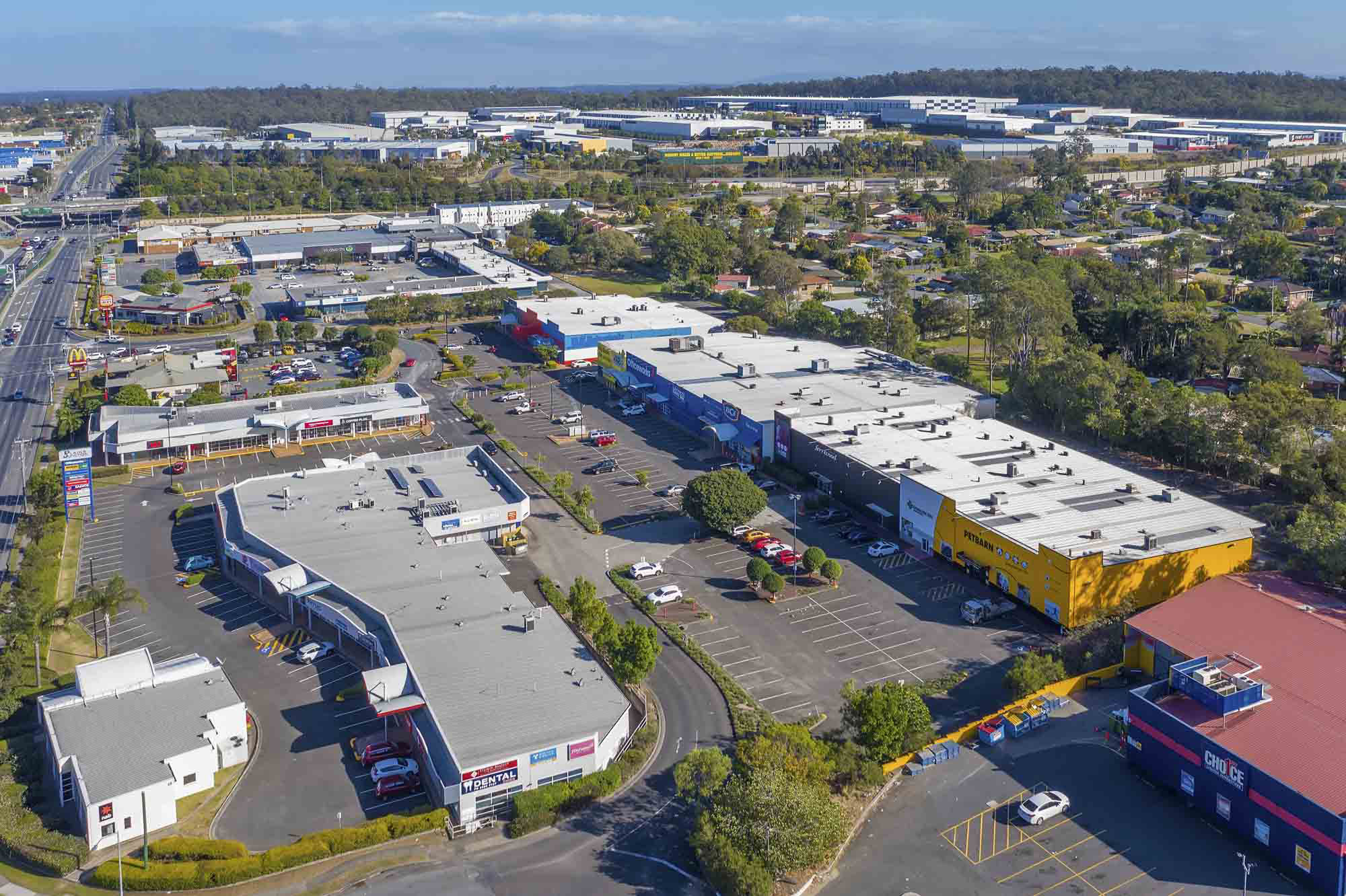 Drone photography for large format retail building at Browns Plains