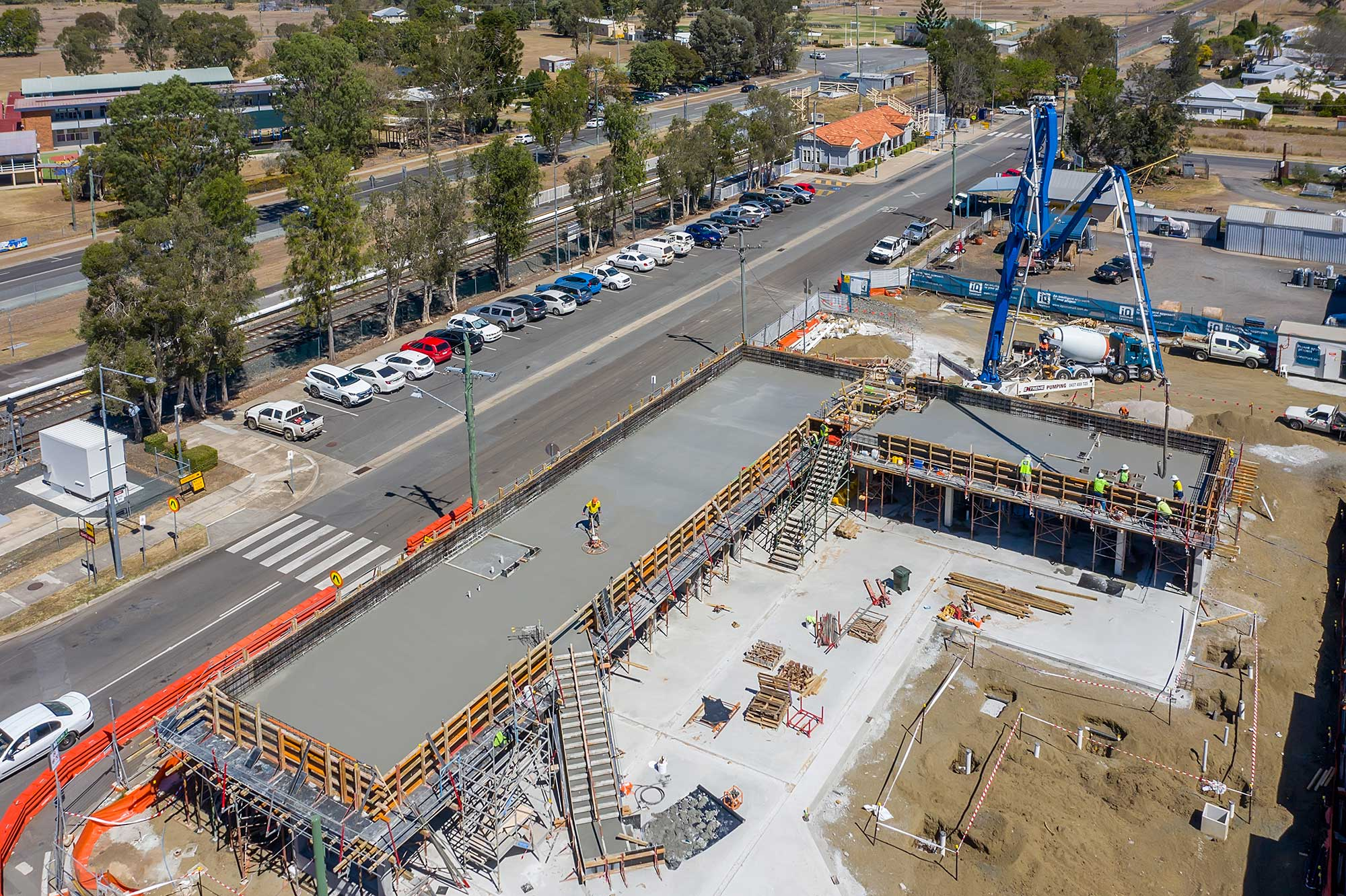 Drone photography update at Rosewood library construction project