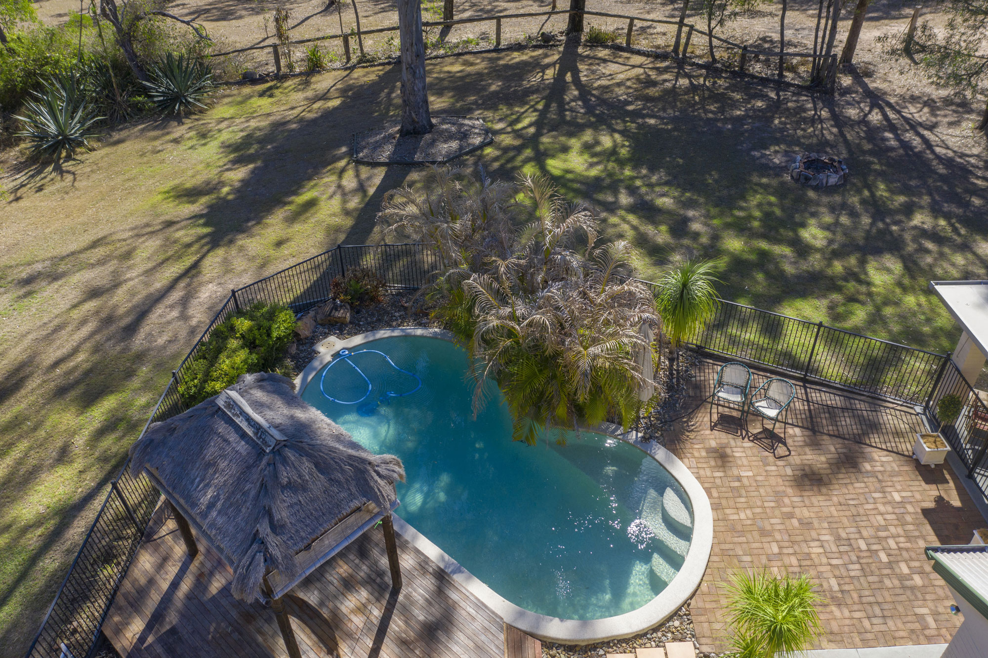 Drone photography acreage real estate Teviot Rd South Maclean looking onto the swimming pool