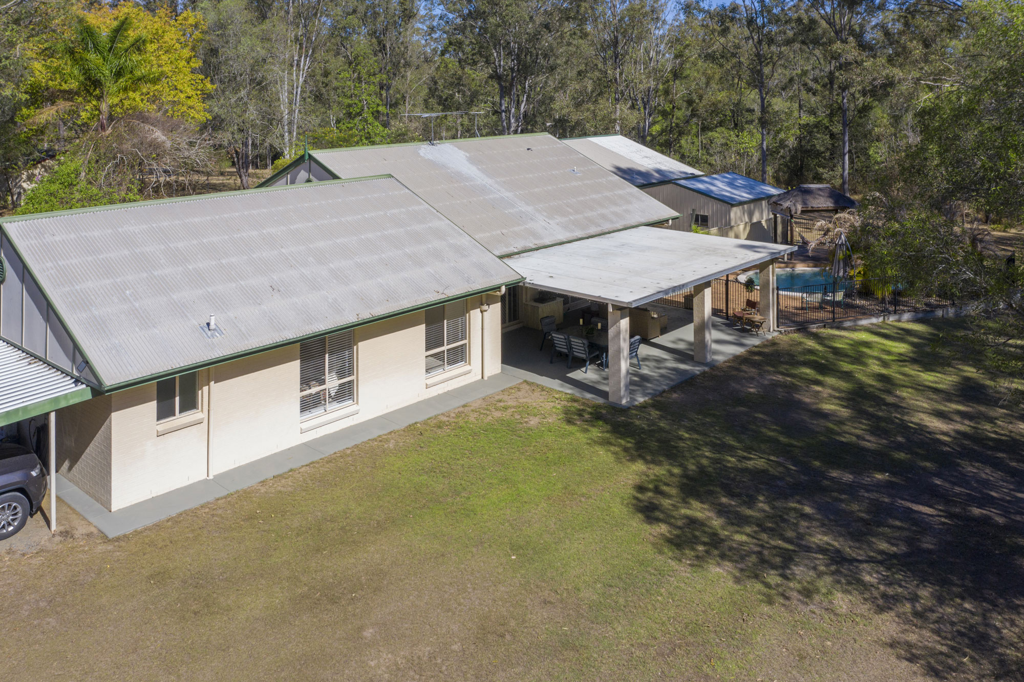 Drone photography acreage real estate Teviot Rd South Maclean looking at the rear of the home