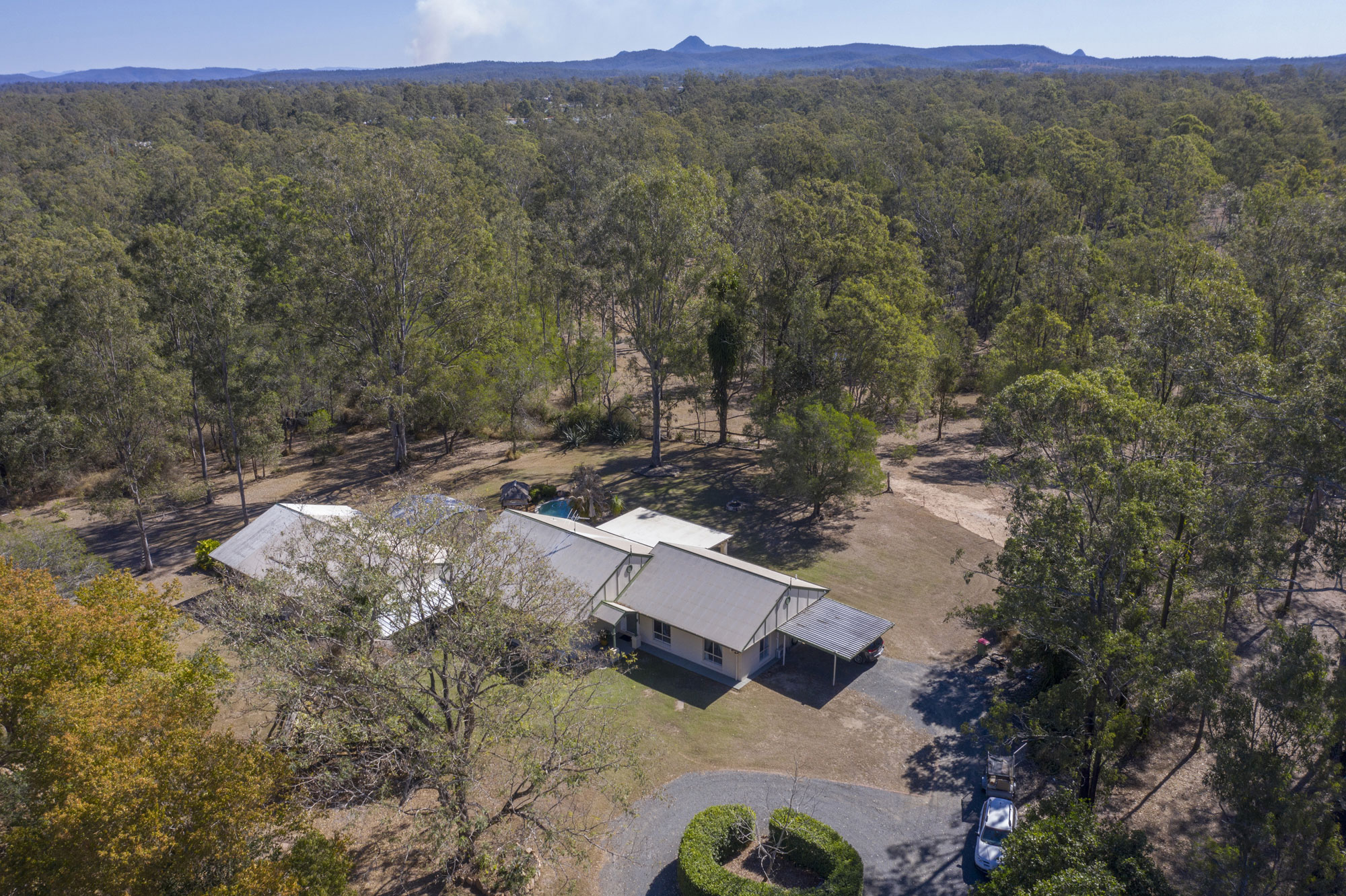Drone photography acreage real estate Teviot Rd South Maclean from 50 metres above the ground
