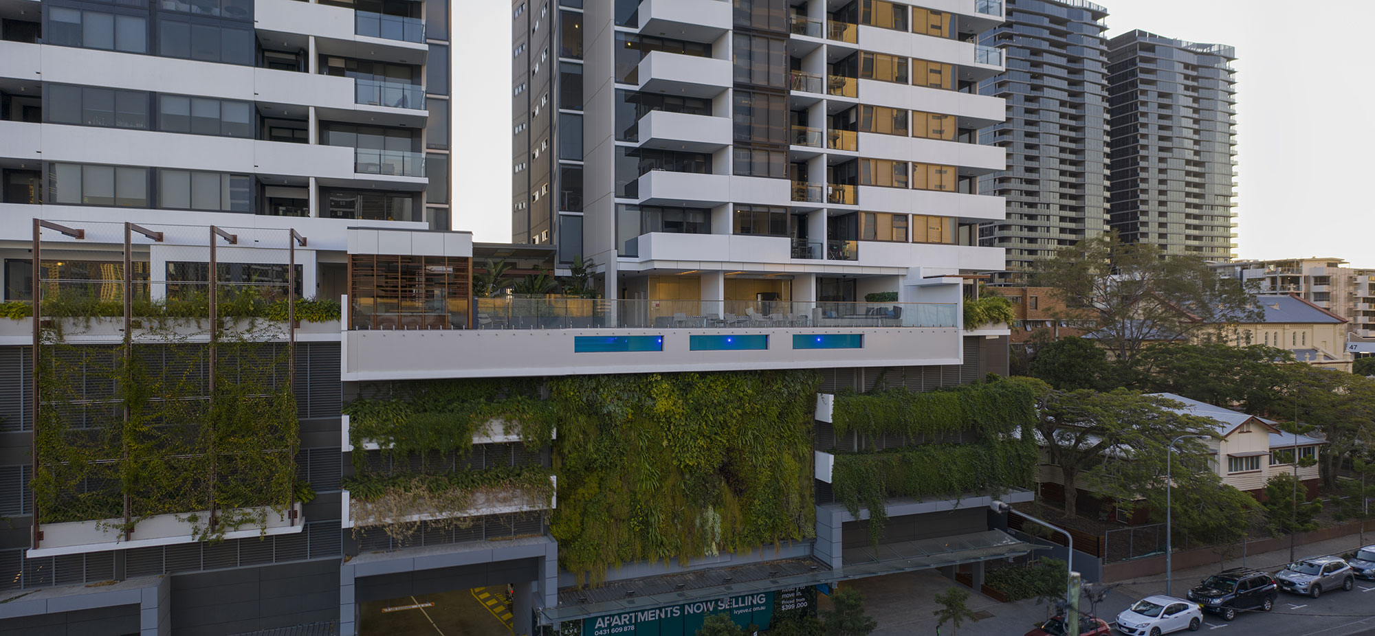 drone photography from the gym for South Brisbane apartment development 3D Render backgrounds