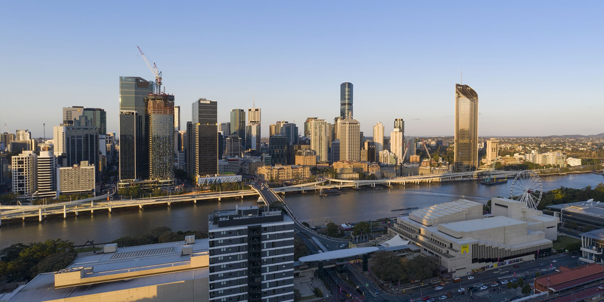 The penthouse view looking north east  - drone photography for South Brisbane apartment development 3D Render backgrounds