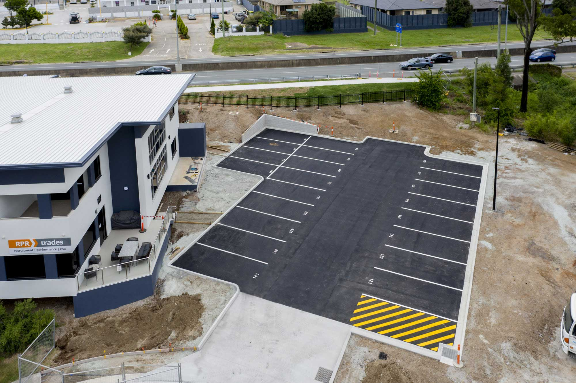 Drone photography of a newly constructed carpark at Eight Mile Plains
