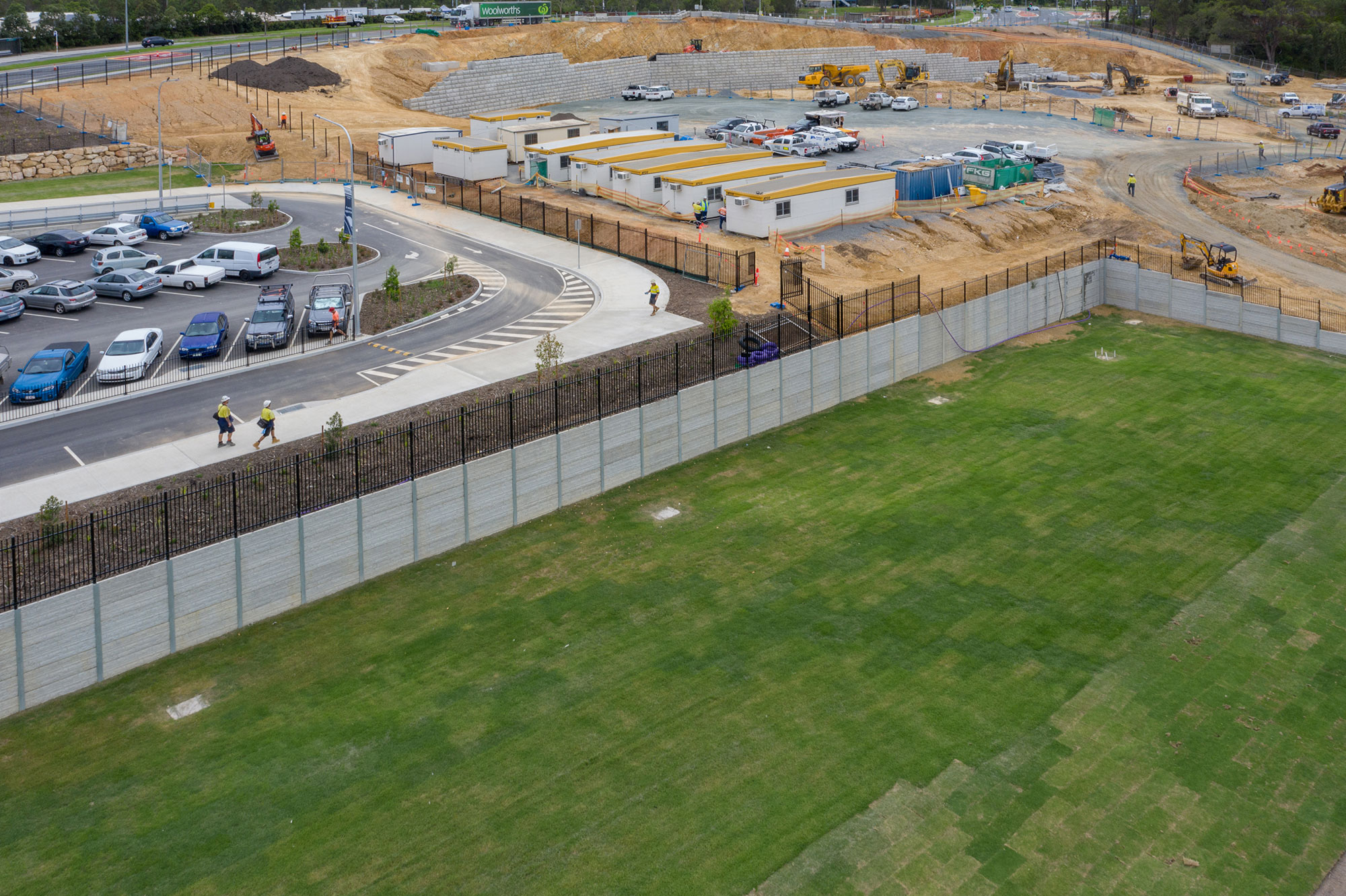 Drone photograph of a sleeper wall under construction at Coomera