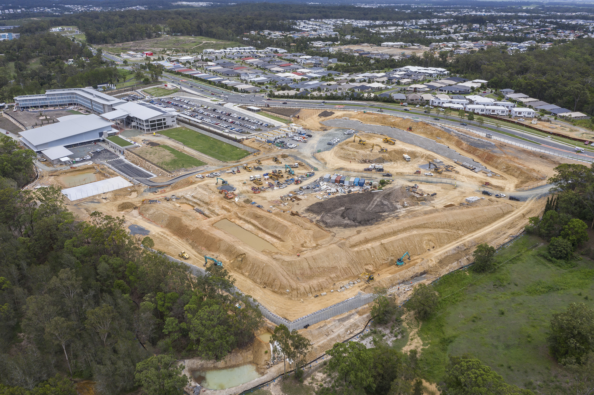 Drone photography for Concrib Pty Ltd - drone photography of wall construction at Coomera