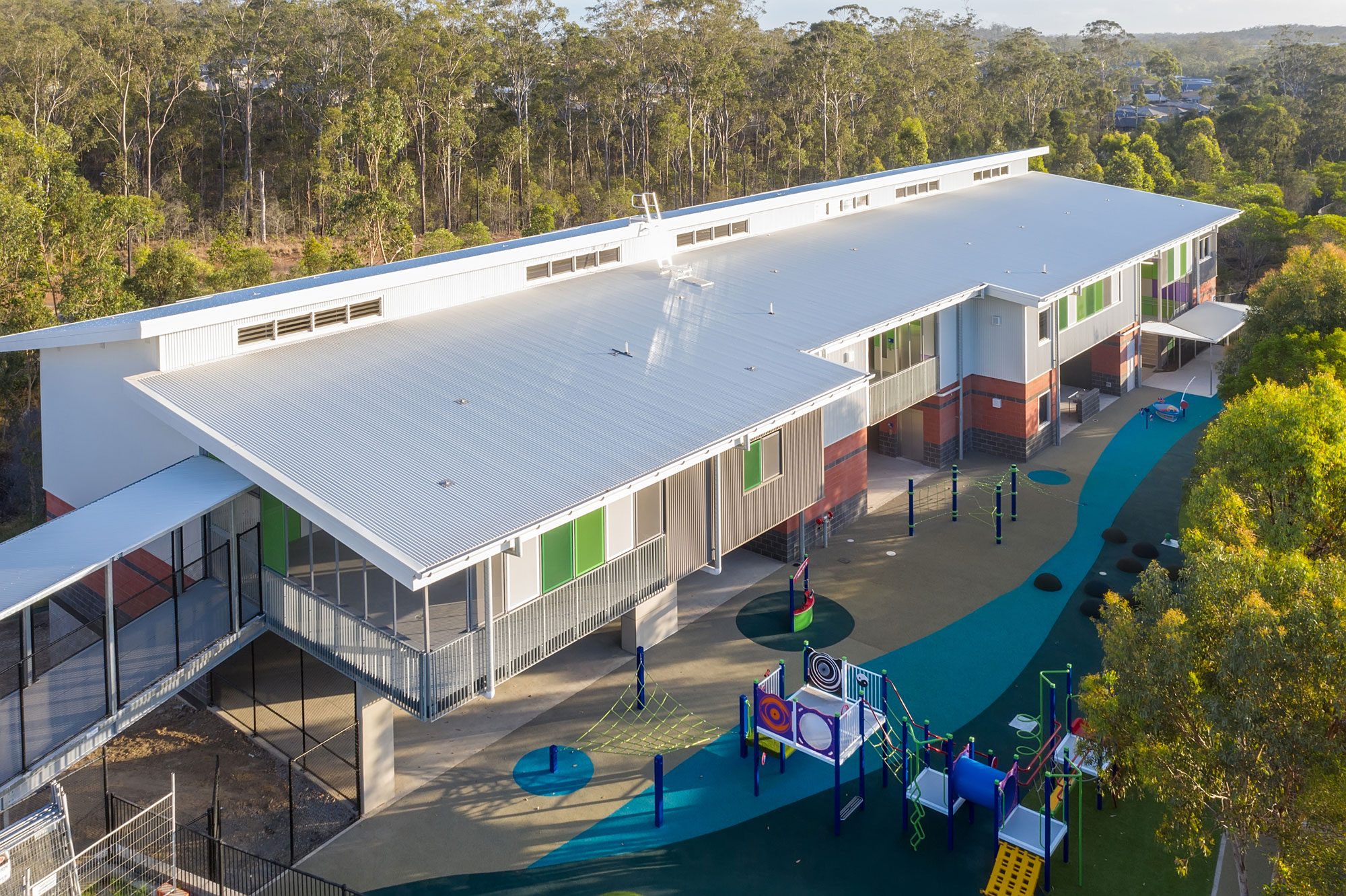 Drone photograph of Crib wall under construction at Coomera school construction