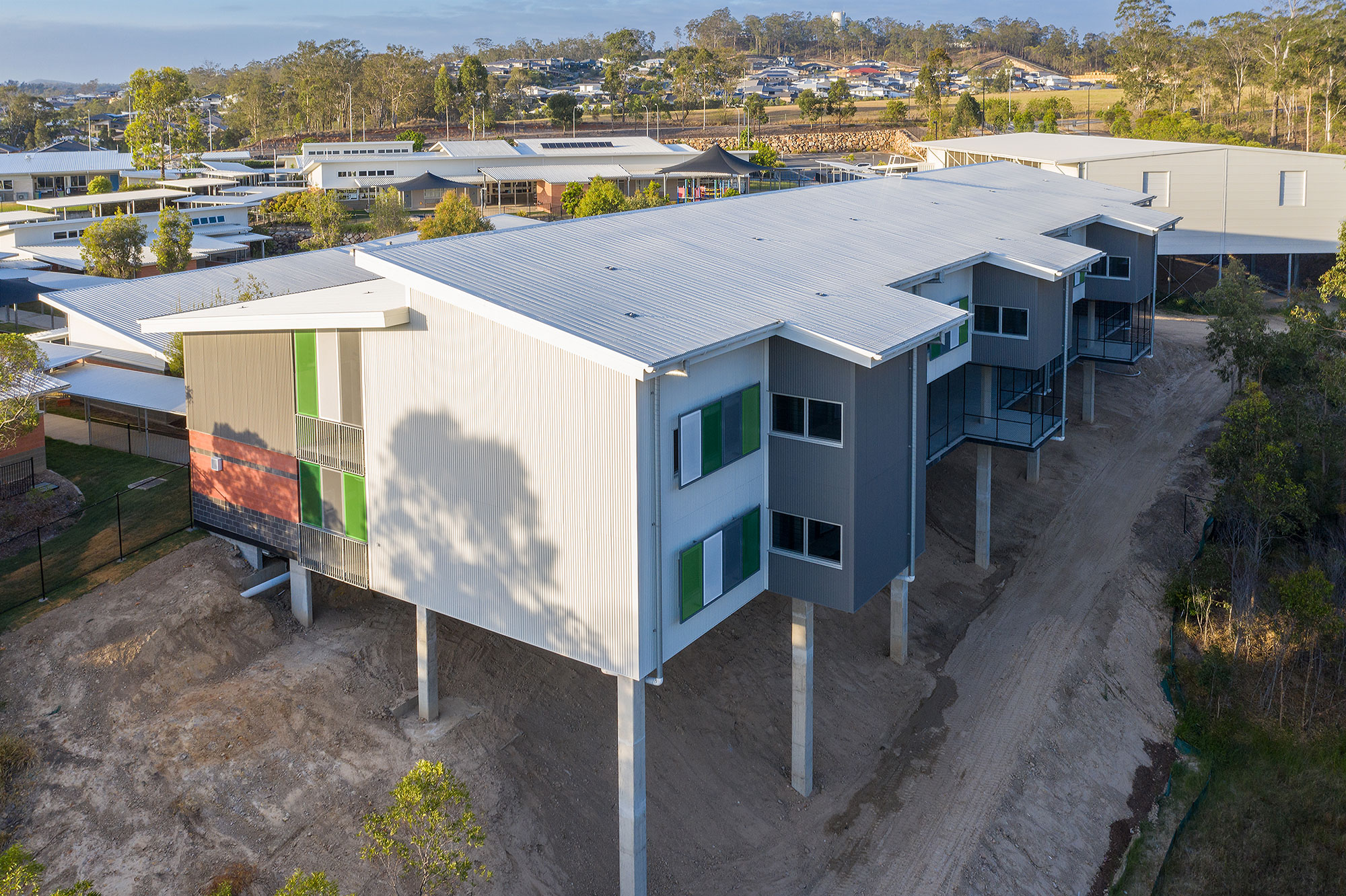 Drone photograph of the newly completed wing at Augusta State School